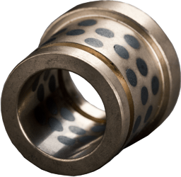 flanged bushing with radial groove at outer surface made from bronze with lubricating pins