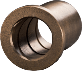 flanged bushing with helical groove made from sintered bronze with graphite - maintenance-free